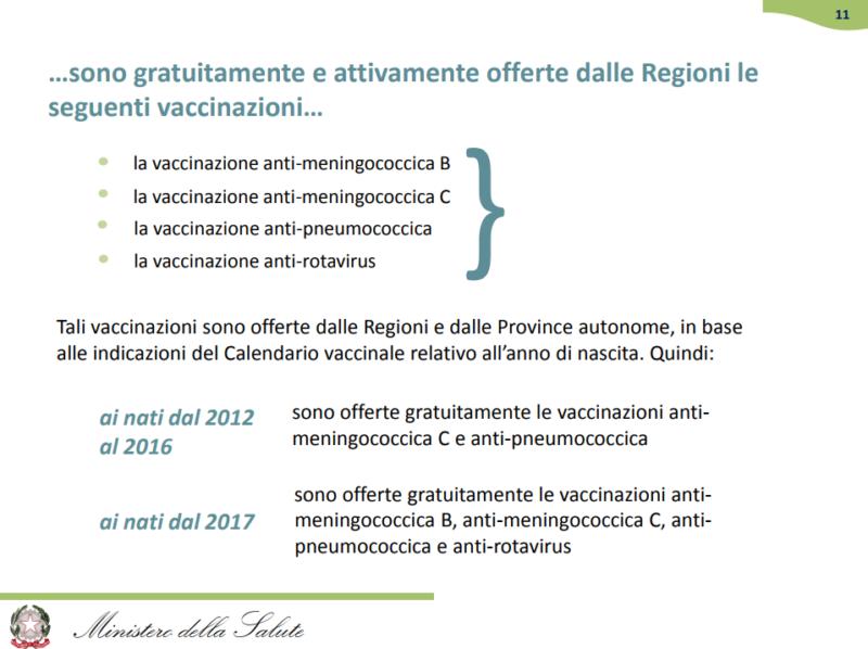 vaccinazioni facoltative gratuite
